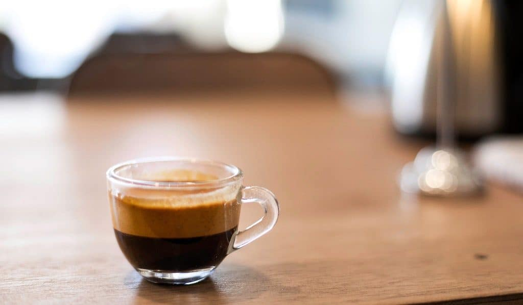 a demitasse cup with espresso. you don't always need a machine to make great espresso!
