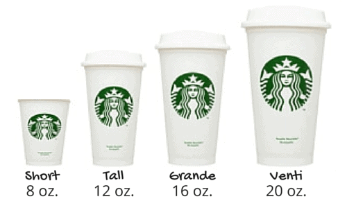 Starbucks sizes: short 8 oz, tall 12 oz, grande 16 oz, venti 20 oz